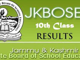 JKBOSE Class 10th Results