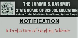 JKBOSE Notification regarding introduction of Grading Scheme