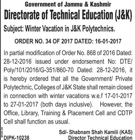 Winter vacation for Polytechnic Colleges from today