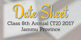 Date Sheet for Class 8th Annual (T2) 2017 Jammu Province