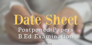Date Sheet for Postponed Papers of B.Ed Examination