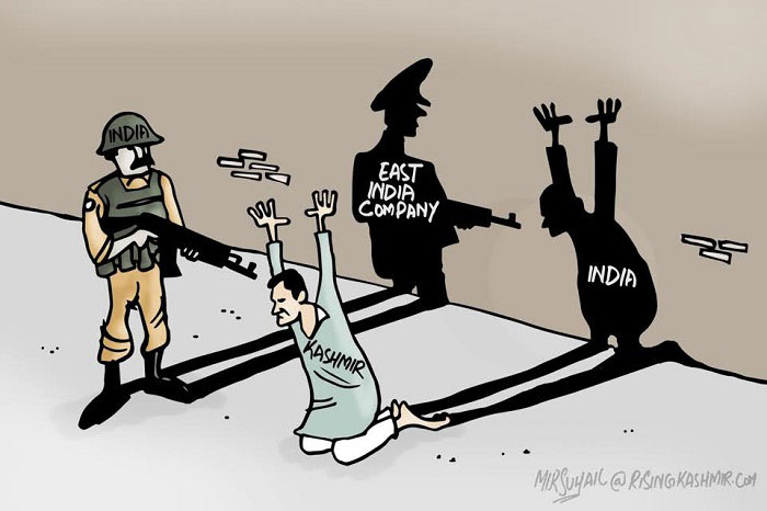 India trying to quell Kashmiri freedom sentiment - Cartoon by Mir Suhail