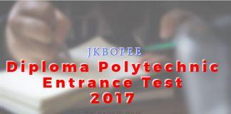 JKBOPEE Diploma Polytechnic Entrance Test - 2017