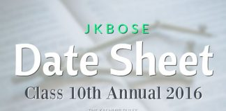 JKBOSE Date Sheet for Class 10th Annual 2016