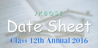 JKBOSE Date Sheet for Class 12th Annual 2016