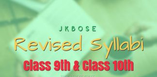 JKBOSE Revised Syllabi for Class 9th & Class 10th