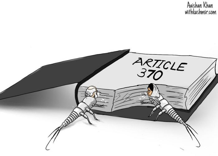 Mehbooba & Modi hollowing out Article 370 - Cartoon by Aaishan Khan