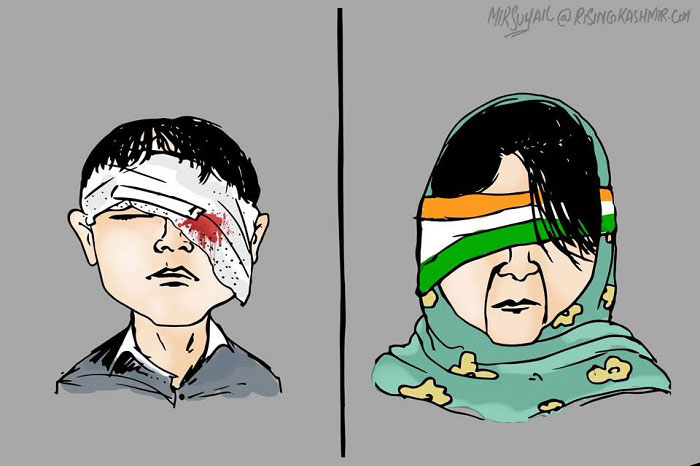 Mehbooba Mufti indifferent to pellet blinded kids - Cartoon by Mir Suhail