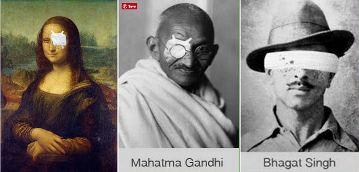 Mona Lisa Mahatma Gandhi Bhagat Singh blinded - Digital Art by Mir Suhail