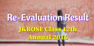 Re-Evaluation Result of JKBOSE Class 12th Annual 2016
