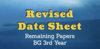 Revised Date Sheet for BG 3rd Year