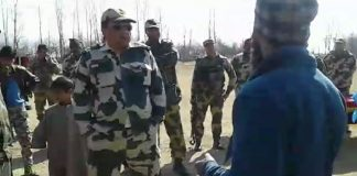 Youth argues with security forces in Pulwama