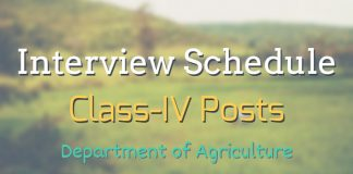 Interview Schedule for Class-IV Posts in Department of Agriculture, Kashmir