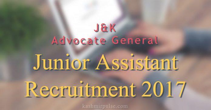 Advocate General J&K - Junior Assistant Recruitment 2017