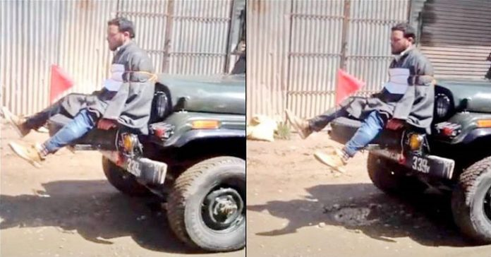 Army tying Kashmiri youth to a jeep
