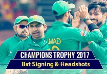 Pakistan Cricket Team's bat signing & headshots in new kit