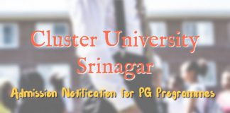 Admission Notification for PG Programmes at Cluster University Srinagar