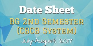 Date Sheet for BG 2nd Semester (CBCB System) July-August, 2017