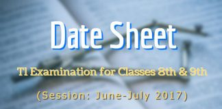 Date Sheet for T1 Examination for Classes 8th & 9th (June-July 2017)