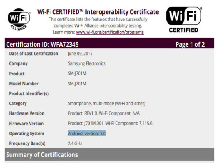 Galaxy J7 (2015) got certification from Wi-Fi Alliance