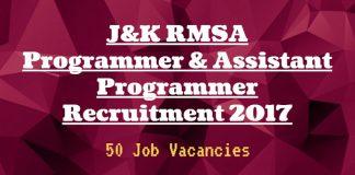J&K RMSA Programmer & Assistant Programmer Recruitment 2017
