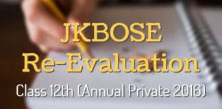 JKBOSE Re-Evaluation: Notification for Class 12th (Annual Private 2016)