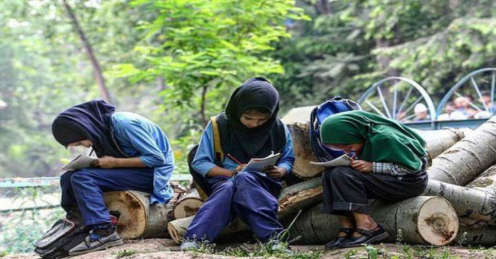 School children doing their homework