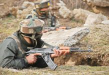Soldiers take position during encounter