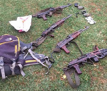 Weapons recovered from the slain Fidayeen militants