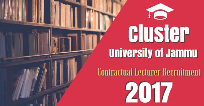 Cluster University of Jammu Contractual Lecturer Recruitment 2017