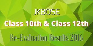 JKBOSE Class 10th & Class 12th (Annual Private) Re-Evaluation Results 2016