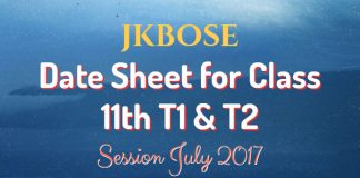 JKBOSE Date Sheet for Class 11th T1 & T2 Session July 2017