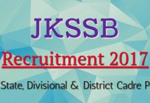 JKSSB Recruitment 2017 for 135 State, Divisional & District Cadre Posts