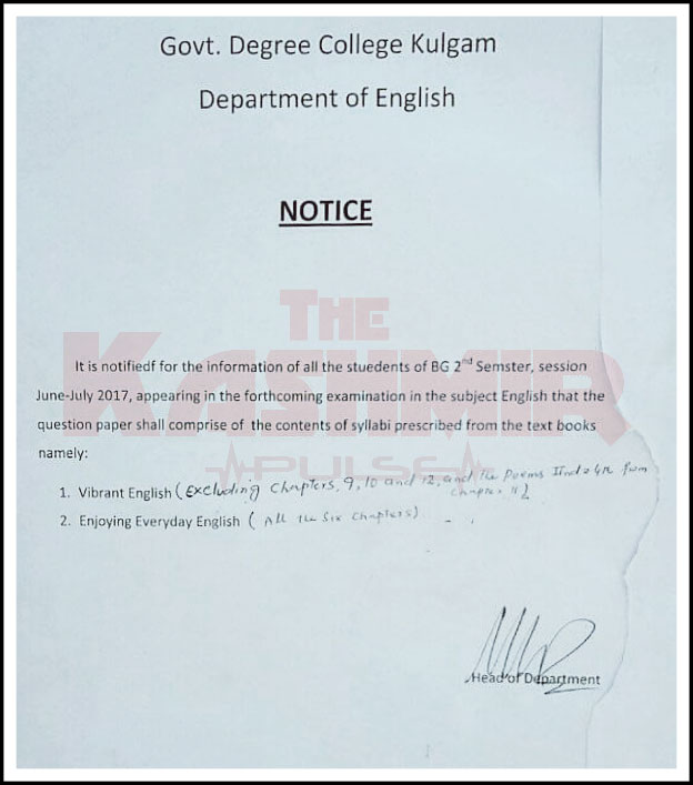 Notice issued by Government Degree College, Kulgam's Department of English