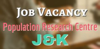 Population Research Centre, J&K has job vacancy