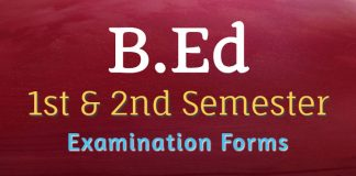 Schedule for Submission of B.Ed Examination Forms for 1st & 2nd Semester