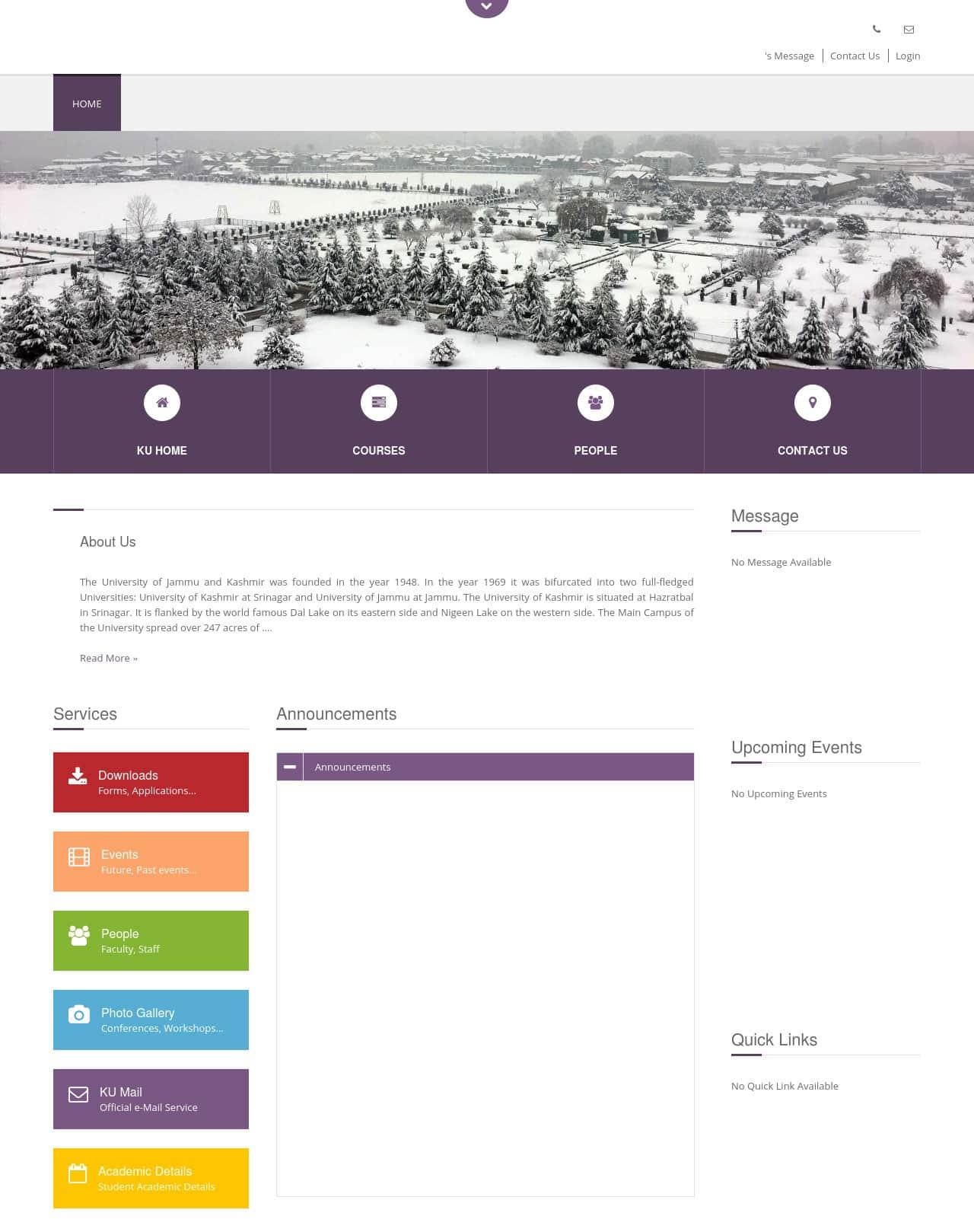 Screenshot of Directorate of Distance Education, University of Kashmir website