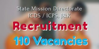 State Mission Directorate, ICDS ICPS, J&K Recruitment 2017