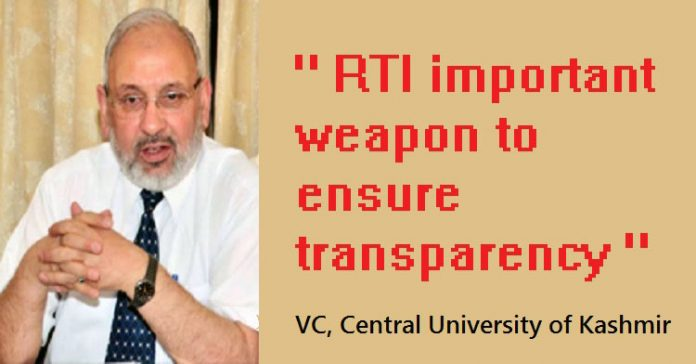 Central University of Kashmir (CUK) Vice-Chancellor, Prof. Mehraj ud Din Mir