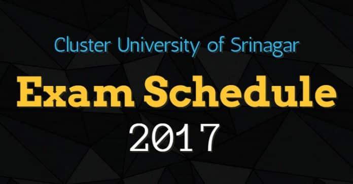 Cluster University Srinagar 1st Semester Exam Schedule