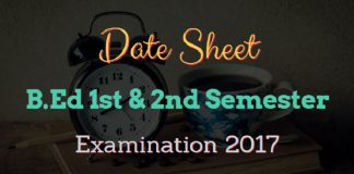 Date Sheet for B.Ed 1st & 2nd Semester Examination 2017