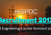 JKSPDC Recruitment 2017 for 173 Engineering & Junior Assistant Jobs