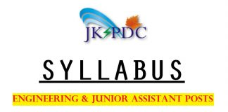 JKSPDC Syllabus 2017 for Engineering & Junior Assistant Posts