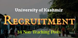 Kashmir University Recruitment 2017 for 34 Non-Teaching Posts