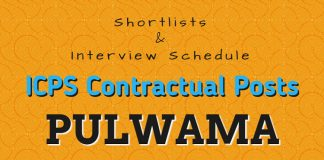 Shortlists & Interview Schedule for ICPS Contractual Posts in Pulwama