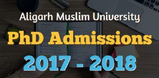 Aligarh Muslim University PhD Admissions 2017 - 2018