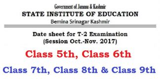Date Sheet for T2 Examination of Classes 5th, 6th, 7th, 8th & 9th (Oct-Nov 2017)