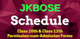 JKBOSE Schedule for Class 10th & Class 12th Permission-cum-Admission Forms