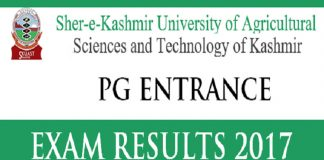 SKUAST Kashmir PG Entrance Exam Result 2017