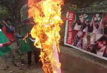 Youth burn Indian flag in Pulwama's Kareemabad